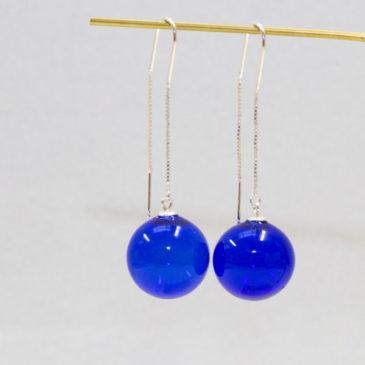 Boucles d'oreilles perles soufflées bleues