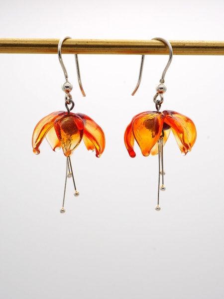 "Boucles d'oreilles ""Fuchsia"" orange transparent"
