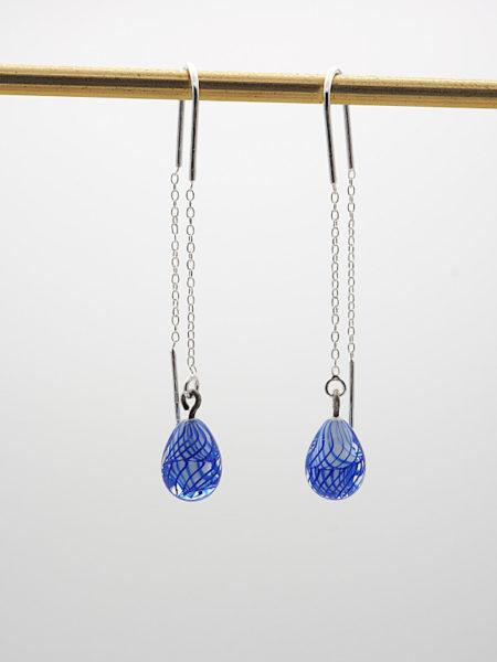 """Boucles d'oreilles longues """"gouttes"""" bleues"""