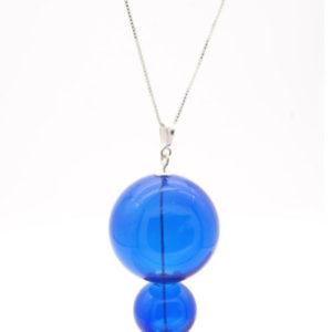 collier 2 boules soufflées bleu