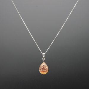 pendentif + chaine ambre filigrane blanc 2