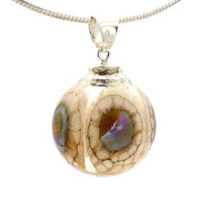 pendentif perle soufflée ivoire point argent